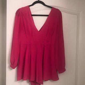 Hot Pink Silk Romper
